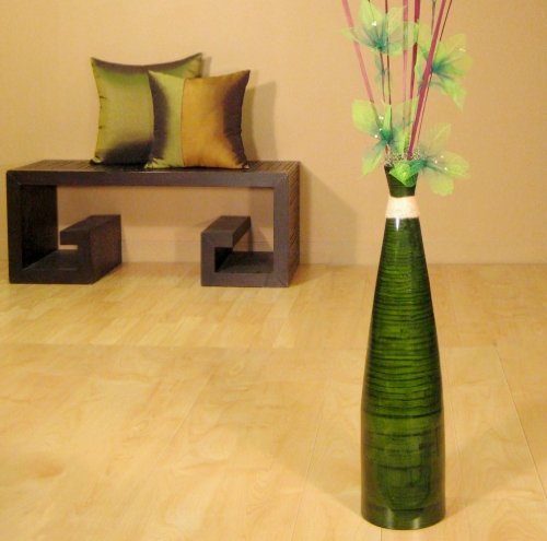 "24"" Slender Bamboo Floor Vase - Dark Emerald"