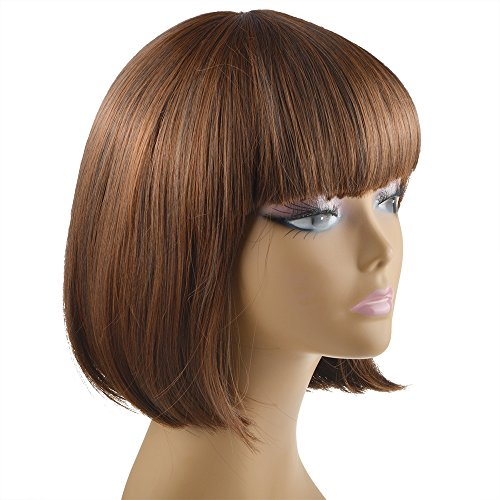 Vani® Hot New Fashion Women's Light Brown Short Straight Wigs Full Hair Wigs With Neat Bangs