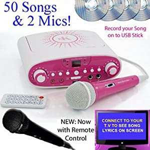 Portable Karaoke Family Party Pack CDG + Karaoke Machine CD Player - 2 Microphones & 50 Songs (4 CD) (parts: Silver / White / Black) NOW WITH VOICE RECORDING - record your karaoke songs onto USB stick + Remote Control - PINK