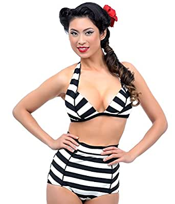 Unique Vintage Black & Ivory Striped Hepburn Bikini Bottom