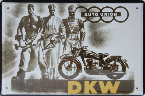 Auto Union DKW, Motorcycle Metal Tin Sign, Vintage Style Wall Ornament Coffee and Bar, 20 X 30 Cm.