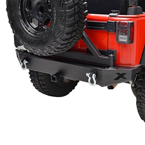 "Restyling Factory Black Jeep Wrangler JK Rear Bumper with Tire Carrier and 2"" Hitch Receiver JK Jeep Wrangler"