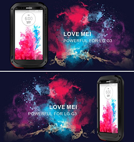 LOVE MEI Case for LG G3, Aluminum Metal Waterproof Shockproof Cover with Gorilla Glass Silver