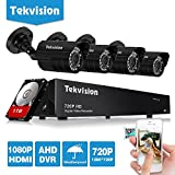 Tekvision® H.264 AHD 8 Channel 720P HD DVR Security Camera System, 4 Bullet Outdoor Camera, 1TB HDD pre-installed