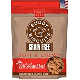 Cloud Star Grain Free Soft and Chewy Buddy Biscuits Dog Treats, Slow Roasted Beef, 5-Ounce