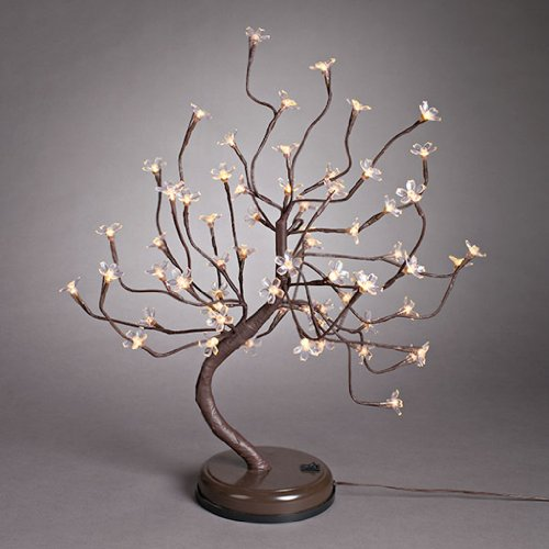 Everlasting Glow Battery Operated Led Electric Acrylic Plum Blossom Brown Wrapped Table Top Lighted Tree, 24-Inch