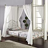 Metal Twin-Size Canopy Bed with Curtains, Pewter