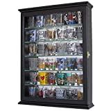 Souvenir Shot Glass Display Case Shadow Box Wall Mounted Cabinet, Mirror Background (Black Finish) (Color: Black Finish)