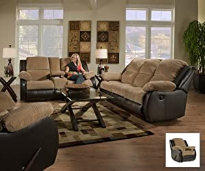 SIMMONS UPHOLSTERY 50902 LANCASTER RECLINING SOFA THEATER CUPHOLDERS MICROFIBER 3PC