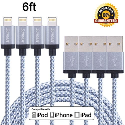 Sunnest iPhone Cable, 4 Pack 6FT Lightning Charger Cord Nylon Braided for iPhone 7, 7 plus, SE, 6s, 6s plus, 6plus, 6, 5s 5c 5, iPad Mini, Air, iPad 5, iPod on iOS9 (Phone Charger Cord Iphone 6 compare prices)