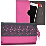 Kroo Samsung Galaxy Grand 2, Grand Neo, Galaxy Grand Prime, Grand Max Case | Magenta/Grey Smartphone Wallet With...