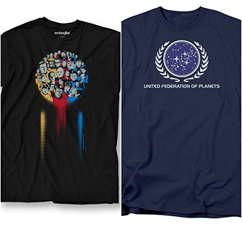 Star Trek 2 Pack Bundle Iconic & Federation Logo Adult Mens T-Shirts Black and Blue (Large) (Captain Space compare prices)