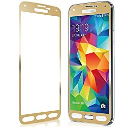 Aryamobi Gold Color Full screen Tempered Glass Screen Protector for Samsung Galaxy A7 (Old Model) screen cover with FREE Transparent back Cover