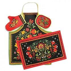 'Khokhloma' Kitchen Textile Set (4 Pc.)