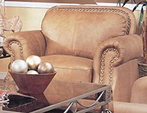 Savannah Caramel Color 100% Leather Sofa Couch Chair w/Nail Head