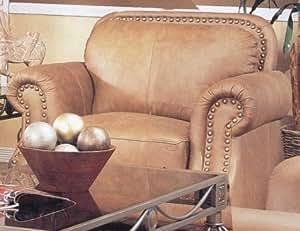 Savannah Caramel Color 100% Leather Sofa Couch Chair w/Nail Head