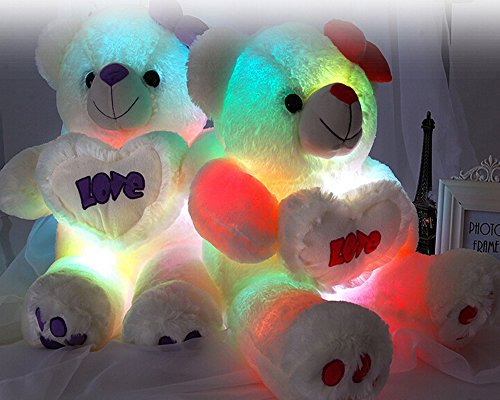 "Glovion Cute Bear Style Light up Glowing Pillow Color Changing Illumination Cushion Flashing Stuffed Toy for Lover Gifts (25.5"" Inch) (Red)"