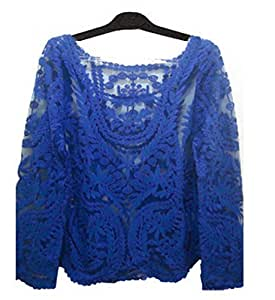 Floral Lace Crochet Tops Hallow Out Lace Blusas (S, Blue): Baby