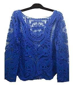Amazon.com: Semi Sheer Women Long Sleeve Lace Shirts