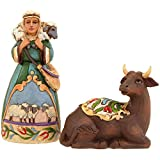 Jim Shore for Enesco Heartwood Creek Ox and Shepherd Set-MiniNatvty Figurine, 4-Inch