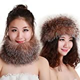 FURTALK Newest Fashion Genuine Fox Fur Women Headband Winter Wrap Cap