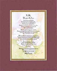 Touching and Heartfelt Poem for Daughters - To My Daughter-in-Law Poem on 11 x 14 Double Beveled Matting