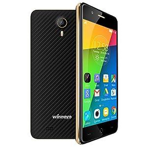 Winnovo K43 4G Smartphone Débloqué 4.5 Pouce Android 5.1 Quad Core Double SIM Double Caméra 5.0MP & 2.0MP avec 2.5D Incurvé IPS Écran 8Go ROM (bleu foncé)