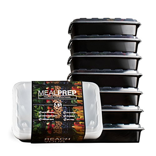 Meal Prep Containers - Stackable Plastic Microwavable Dishwasher Safe Reusable - 28 Oz - (Set of Seven) (Microwave Mini Fridge Cabinet compare prices)
