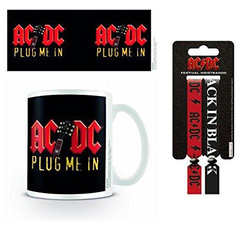 Set: AC/DC, Plug Me In Tazza Da Caffè Mug (9x8 cm) E 1 AC/DC, Braccialetto (10x2 cm)