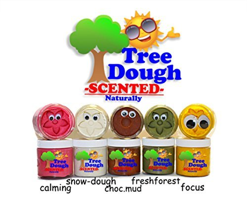 Tree Dough : All Natural & Organic Beneficial Mineral Play Dough 5pk : CALMING, FOCUS, FRESH FOREST AROMA, CHOCOLATE ECO MUD, SNOW-DOUGH.. (Soy Play Dough compare prices)