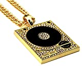 Pour Homme Plaqué or 18K phonographe Vintage Rétro Pendentif Collier hip hop punk style DJ Jewelry