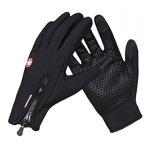 快適操作 スマホ対応 サイクリング 防寒 グローブ 防風 手袋 (ブラック, Lサイズ)