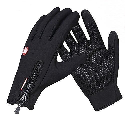快適操作 スマホ対応 サイクリング 防寒 グローブ 防風 手袋 (ブラック, Mサイズ)