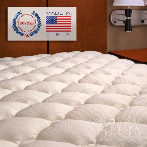 Extra Plush Bamboo Fitted Mattress Topper, Full front-4828