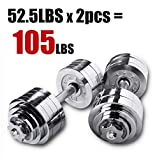 One Pair of Adjustable Dumbbells Chrome Plated Metal Total 105 Lbs (2 X 52.5 Lbs) with Trays