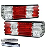 1986-1991 MERCEDES BENZ W126 S-CLASS TAIL LIGHTS REAR BRAKE LAMPS+DRL LED BUMPER