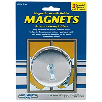 "Master Magnetics 07254 Magnetic Hook with Decor Hook Chrome Plate, 2.65"" Diameter, 0.290"" Thick, Silver"