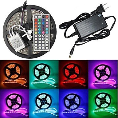Zaki Waterproof 5M 300X5050 Smd Rgb Led Strip Flexible Light + Rgb 44Key Remote Control + Ac Adapter(Ac100-240V)
