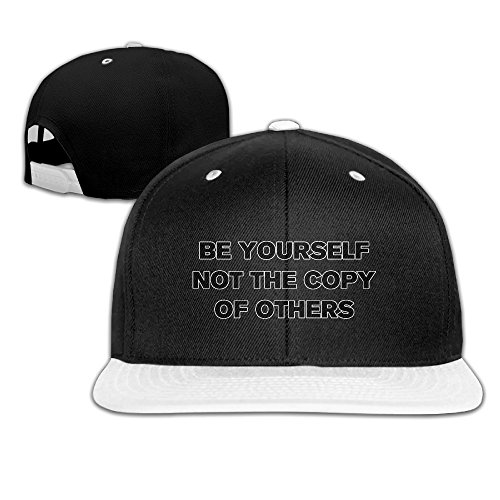 Show Time Be Yourself Baseball Hat Adjustable Flat Bill Hat White