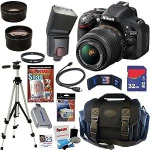 Nikon D5200 24.1 MP CMOS Digital SLR Camera (Black) with 18-55mm f/3.5-5.6 AF-S DX VR NIKKOR Zoom Lens + TTL Flash + Telephoto & Wide Angle Lenses + 10pc Bundle 32GB Deluxe Accessory Kit
