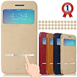 iPhone 6 Plus Case, Aerb Classic Series Smart Window View Touch Metal Front Flip Cover Folio Case for iPhone 6 Plus 5.5″ (B-Khaki Case)