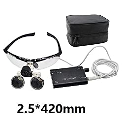 Denshine® Dental Surgical Medical Binocular Loupes Optical Glass Loupe 2.5x 420mm + Head Light Lamp +Carry bag (Black)