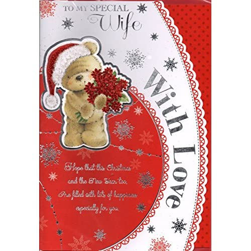Wife Christmas Card ~ For My Very Special Wife Happy Christmas With Love ~ Santa Bear & Xmas Presents ~ Extra...