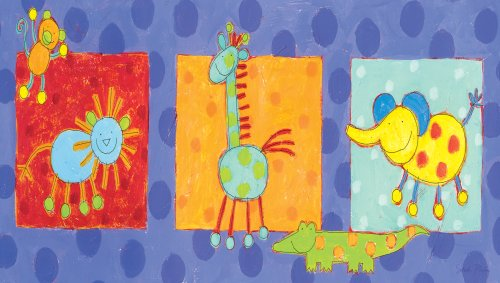 "Art 4 Kids ""Silly Jungle Animals"" Mounted Art Print, 30""X17"" front-883099"