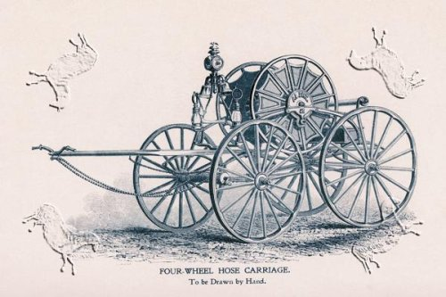 Art Poster, Four-Wheel Hose Carriage: To be Drawn by Hand - 27.5 x 18.75