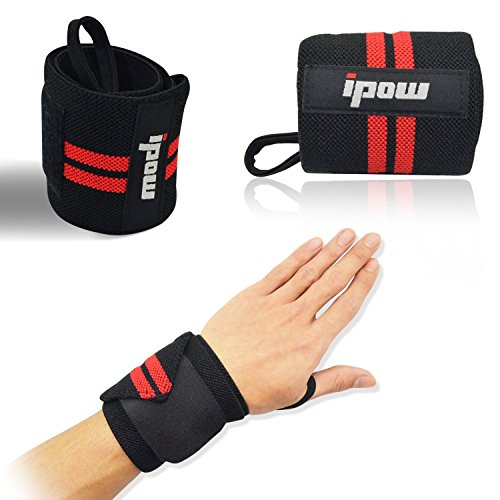 Ipow-Adjustable-185-Weight-Lifting-Training-Wrist-Straps-Support-Braces-Wraps-Belt-Protector-for-Weightlifting-Powerlifting-Bodybuilding-For-Women-and-Menset-of-2