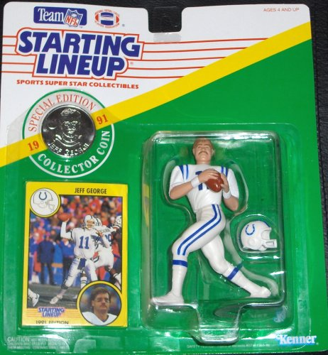 Starting Lineup Sports Super Star Collectible Figure - 1991 Edition Card Plus Coin - Indianapolis Colts Jeff George
