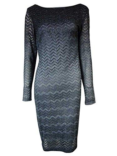 Onyx Nite Women's Long Sleeves Glittered Chevron Lace Dress (10