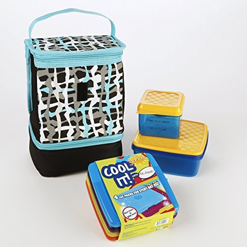 Fit & Fresh Austin Kids' Lunch Bag Kit with Cool Coolers, Lunch Pod & Dip N Dunk (Hang Ten Plaid) - 1