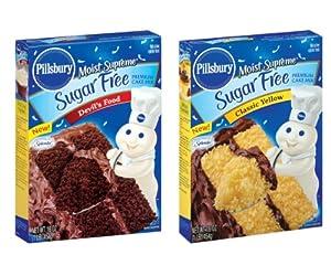 Pillsbury Sugar Free Cake Mix Value Bundle - 1 Box Sugar Free Devils Food Cake 1 Box Sugar Free Classic Yellow Cake